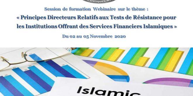 Session de formation Webinaire sur le thème : « Principes Directeurs Relatifs aux Tests de Résistance pour  les Institutions Offrant des Services Financiers Islamiques »